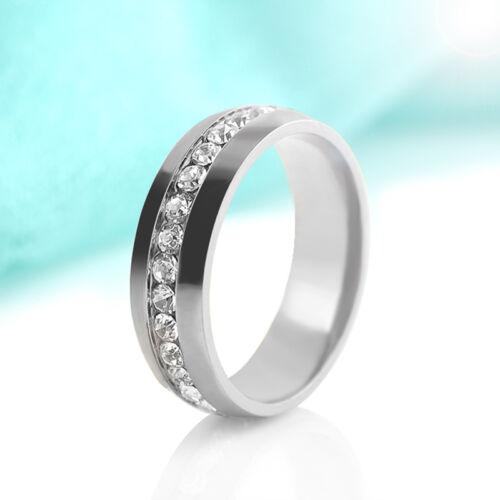 Men CZ Couple Stainless Steel Wedding Ring Women Titanium Engagement Band Sz7-11