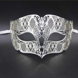Silber Herren rauchen Halbschuhe Metall filigran Maskerade Maske maskiert Ball