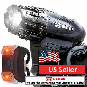 Blitzu Gator 320 USB Rechargeable Bike Head Light Set w/ Free Bicycle Tail Light