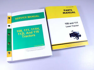 Service Manual Parts Catalog Set For John Deere 108 111 Lawn