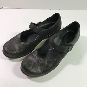 Dansko-Opal-Womens-Black-Leopard-Metallic-Leather-Mary-Jane-Flats-Size-EU-40