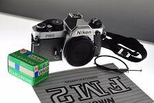 Nikon FM2n SLR silver professional camera, MINT- condition. +strap+manual+film