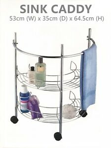 Bathroom Sink Caddy Shower Caddy with Wheels Metal Chrome ...