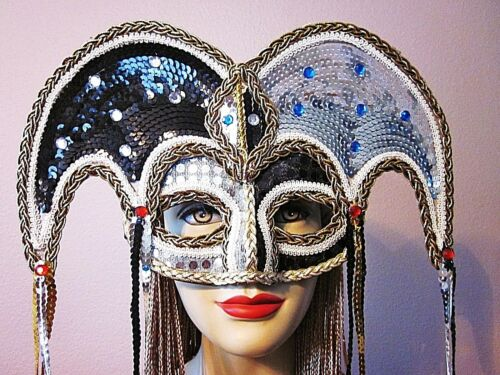 """FESTIVE SEQUINED /""""COURT JESTER/"""" STYLE UNISEX FACE MASK JEWELS STREAMERS LACE"""