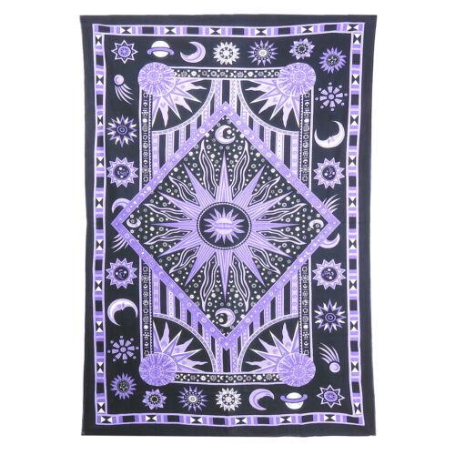 Twin Black Tie Dye Purple Burning Sun Tapestry Bohemian Wall Hanging Bedspreads