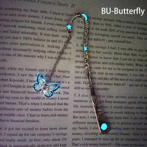 Glow In The Dark Butterfly Bookmark Tibetan Silver Book Marker Stationery DIY FB