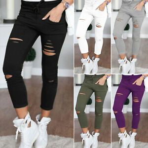 Senora-pantalones-7-8-tubos-treggings-pantalones-destroyed-ripped-leggings-vomite-pantalones-de