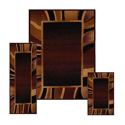 Brown Contemporary Border 3 Pcs Area Rug Set Modern Stripes Runner Combo Carpet