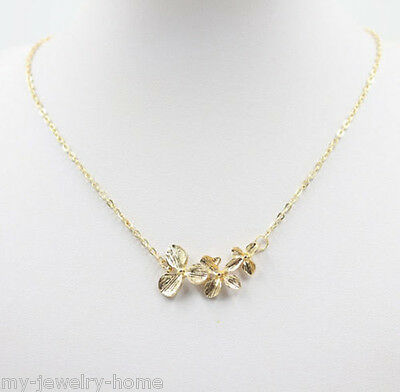 Fashion Gold Chain Flower Pendant Choker Chunky Statement Bib Necklace