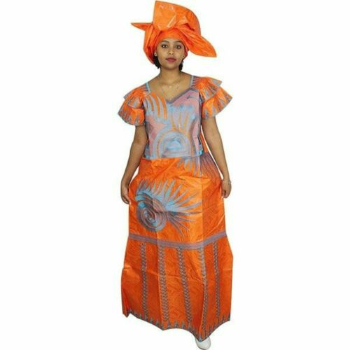 Details about  /African Style For Women Embroidery Bazin Clothing Long Dress with Scarf X21245