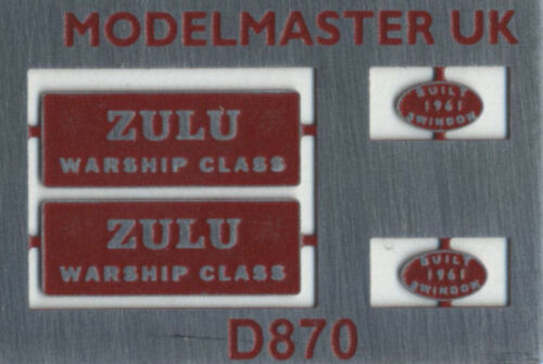 suit Bachmann 00 MODELMASTER Etched Nameplates  D870 Zulu Red 4mm