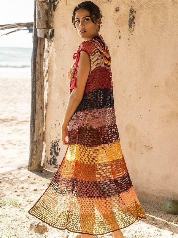 Free People NWT Größe M L Anna Kosturova Rainbow Stripe Crochet hooded Maxi Vest