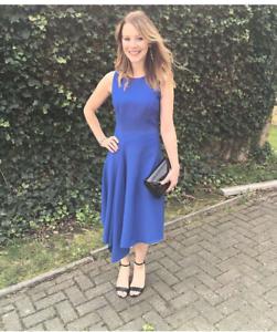 Ted-Baker-Blue-Fit-amp-Flare-Arola-Textured-Drape-Asymmetric-Party-Dress-UK-8-10