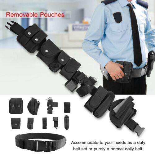 Black Tactical Nylon Policy Security Guard Duty Belt Utility Kit System w// Pouch