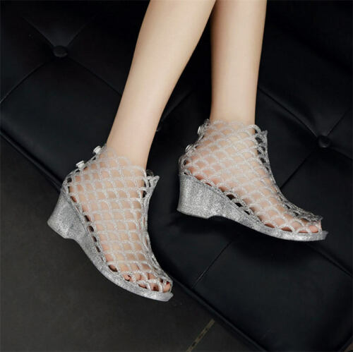 Summer Women/'s Hollow Out Crystal Wedge Heel Sandals Jelly Peep Toe Shoes New