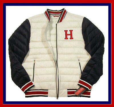 $145.00 ! Tommy Hilfiger Mens WhiteNavy Size 2XL H Patch Quilted Puffer Jacket 888807539264 | eBay