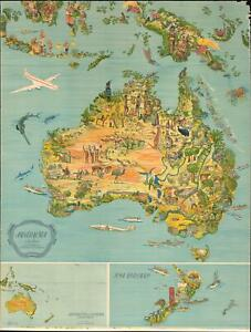 Details about 1947 Lindblad Pictorial Map of Australia, New Zealand, and  Indonesia