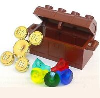 ☀️new Lego Minifigure Treasure Chest With Gold Coins & Diamond Jewels
