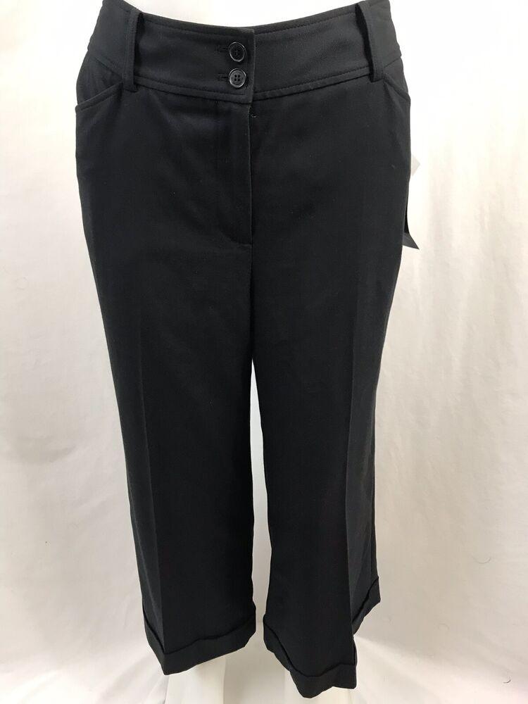 Anne Klein Noir Extensible Pantalon Plat Avant, Femmes Taille 10