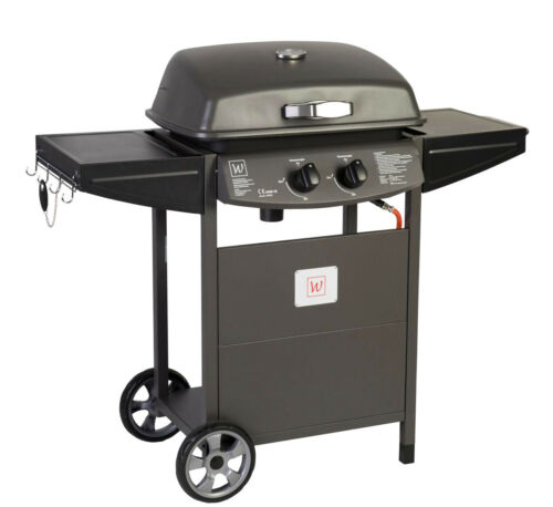 Gas Grill Garden 6kW Double Burner Barbecue Cart Standing BBQ 130246