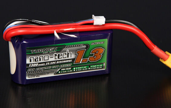 TURNIGY NANO-TECH LIPO BATTERY 3S 1300mAh 11.1V 25~50C XT60 Connectors