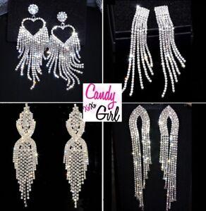 Superb Silver Crystal Diamante Rhinestone Tassel Long Fashion Statement Earrings