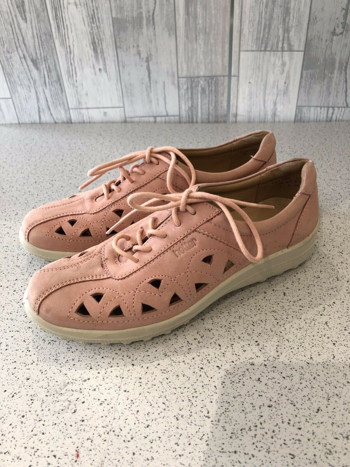 Hotter Pink Suede Lace Up Flat shoes With Cut Out Detail Uk3 36