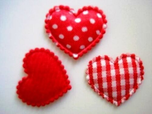 60 Mix Fabric Hearts Applique//Felt//Satin//Gingham//Polka Dot//Trim//Sewing H78-Red