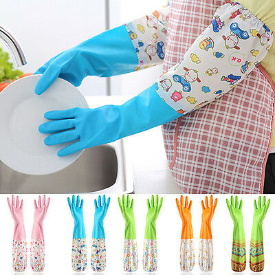 1PAIR HOUSEWORK DISH WASHING UP CLEANING WATERPROOF LONG SLEEVE GLOVES UNIQUE