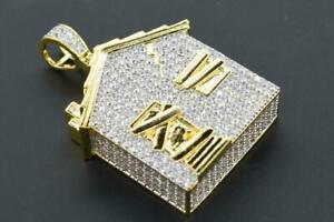 14K-Yellow-Gold-Fn-Hip-Hop-Atlanta-Trap-House-Iced-out-Pendant-Round-Cut-Diamond