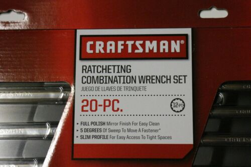 Craftsman 20 Pc Ratcheting Combination Wrench Tool Set Inch Metric 46820 Retail