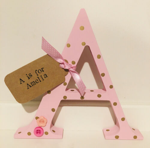 Personalised Freestanding Wooden Letter Initial Baby Gift Handmade Decoration