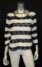 INC NWT Black/White Striped Floral Lace Detail Sheer Knit Shell Blouse sz L $69