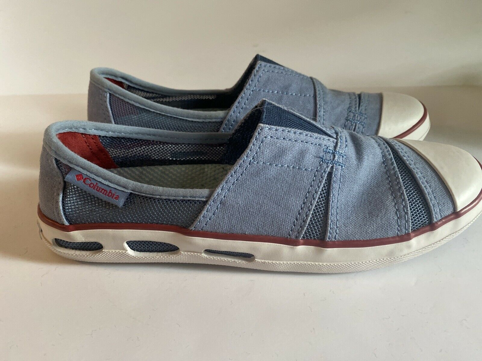 NWOB Columbia Blue Canvas Vented Slip On Loafers Women's Shoes Sz 6 #BL2716-411