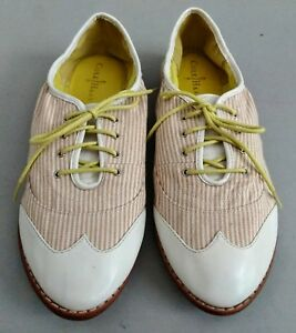 Cole-Haan-Kody-Women-039-s-White-Sand-Striped-Oxford-Shoe-Sz-10B-MSRP-429-79-NEW