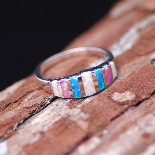 Elegant Women 925 Silver Wedding Rings Multi-color Opal Ring Size 6-10