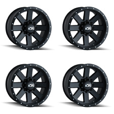 "Set 4 18"" Ion 134 Black Beadlock Wheels 18x10 6x5.5 -19mm Chevy GMC Sierra 6 Lug"