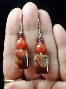 EARTHY-REDDISH-BROWN-ORANGE-JASPER-PYROPE-GARNET-STERLING-SILVER-EARRINGS