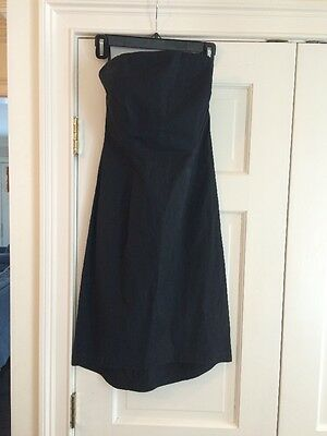 Flattering J. CREW Black Strapless Dress Sz 4 Cotton Blend Elastic Back EUC