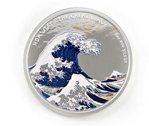 2017-1oz-Hokusai-Great-Wave-Off-Kanagawa-999-Silver-Color-PROOF-Coin-A409