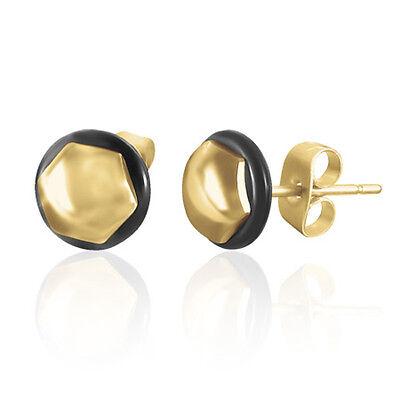 Urban Male Pair Of Hexagonal Stud Men's Earrings Gold S/Steel 8mm
