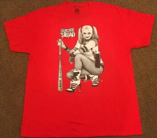 Harley Quinn SUICIDE SQUAD NEW Red XL T-Shirt Girl Bat Good Night DC Comics