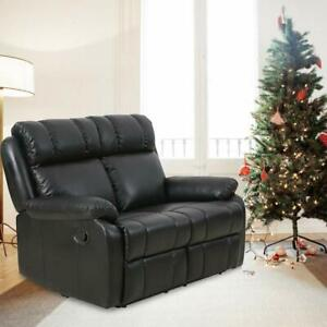 Surprising Details About Black Double Reclining Loveseat Sofa Pu Leather Living Room Recliner Furniture Bralicious Painted Fabric Chair Ideas Braliciousco