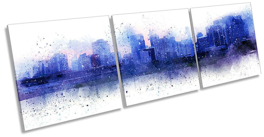 Blau Modern Cityscape Picture CANVAS WALL ART Triple Print
