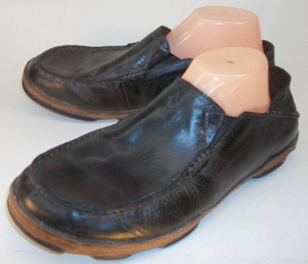 Olukai MOLOA Mens US 10 M Black Leather Slip-On Casual Moc Toe Loafers Shoes