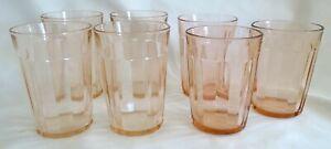 Anchor-Hocking-USA-Pillar-Optic-Pink-7-Water-Tumblers-Depression