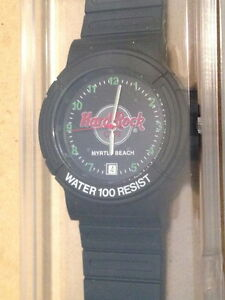 Hard-Rock-Cafe-MYRTLE-BEACH-2000s-MEN-039-S-WATCH-Black-Rubber-BAND-New-HRC-Package