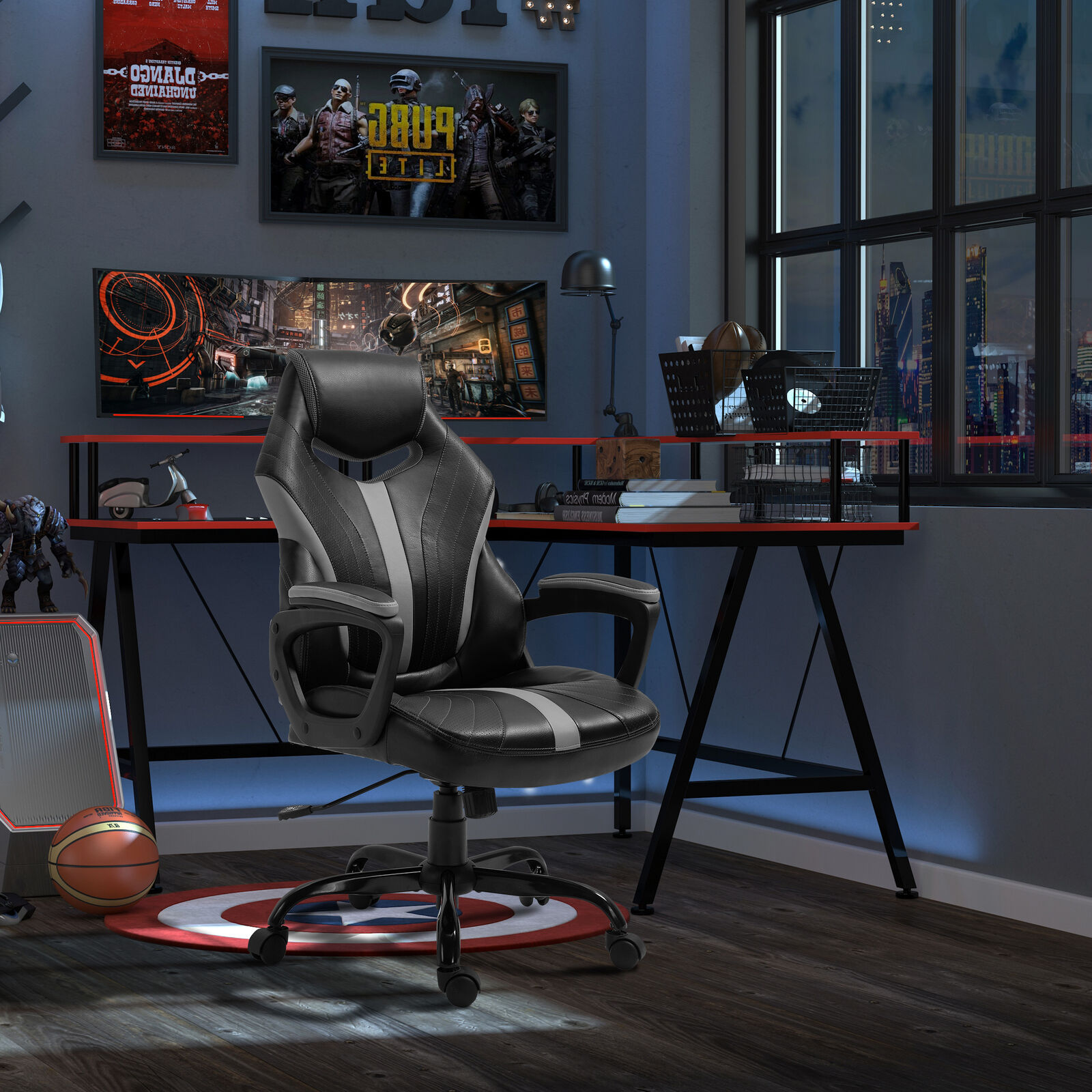 Gaming Chair, Swivel Home Office, Computer Racing Gamer, Desk Chair, Black Grey NOW £59.49 w/code POCKET15 @ eBay