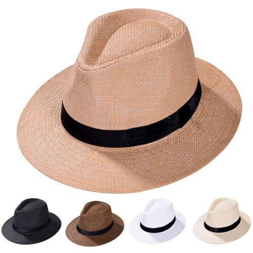 Men Women Straw Fedora Hat Trilby Cuban Cap Summer Beach Sun Panama Hats Outdoor