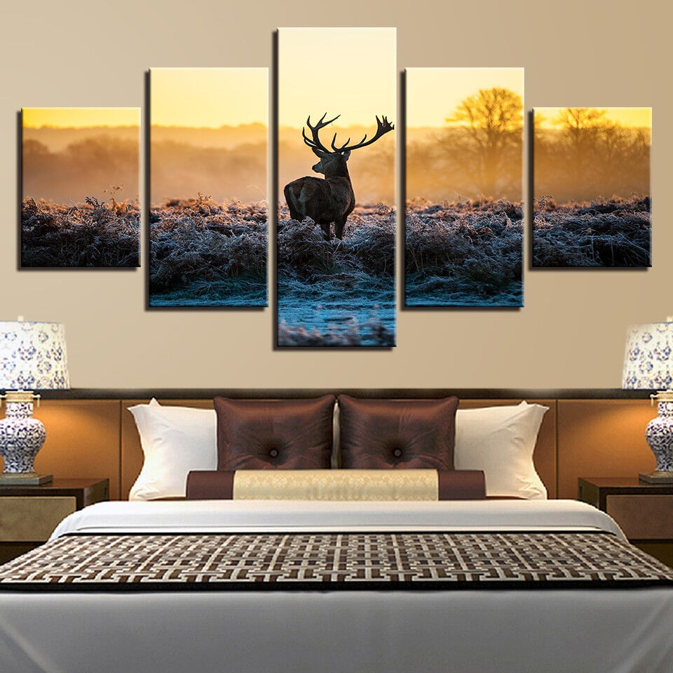 Lonely Deer Winter Forest At Sunset 5 Panel Canvas Print Wall Art Home Decor